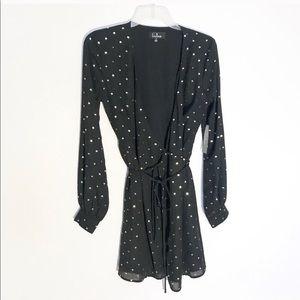 Lulu dress Black and gold polka dot wrap dress